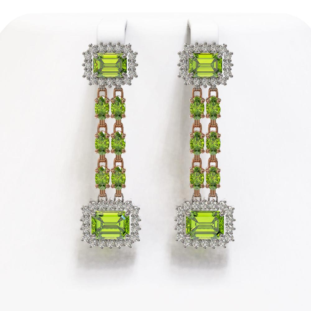 10.88 ctw Peridot & Diamond Earrings 14K Rose Gold - REF-211R5K - SKU:45222