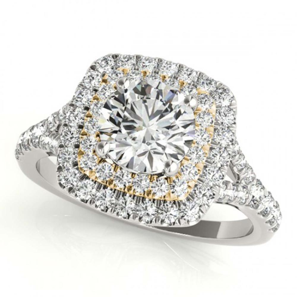 1.45 ctw VS/SI Diamond Solitaire Halo Ring 18K White & Yellow Gold - REF-169K5W - SKU:26239
