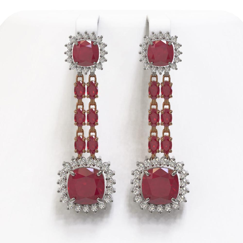 19.88 ctw Ruby & Diamond Earrings 14K Rose Gold - REF-279H6M - SKU:44913