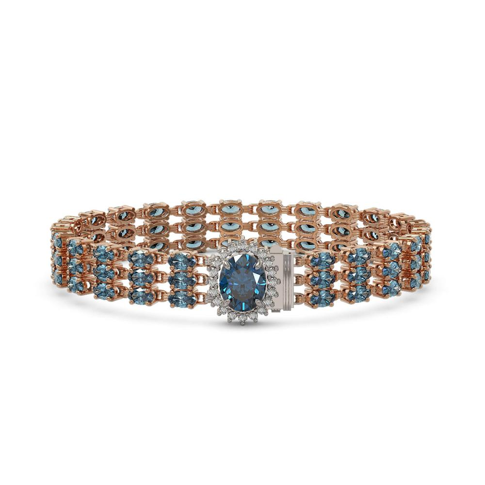 27.33 ctw London Topaz & Diamond Bracelet 14K Rose Gold - REF-193W2H - SKU:45858