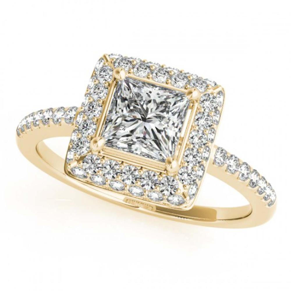 1.50 ctw VS/SI Princess Diamond Halo Ring 18K Yellow Gold - REF-286F4N - SKU:27146