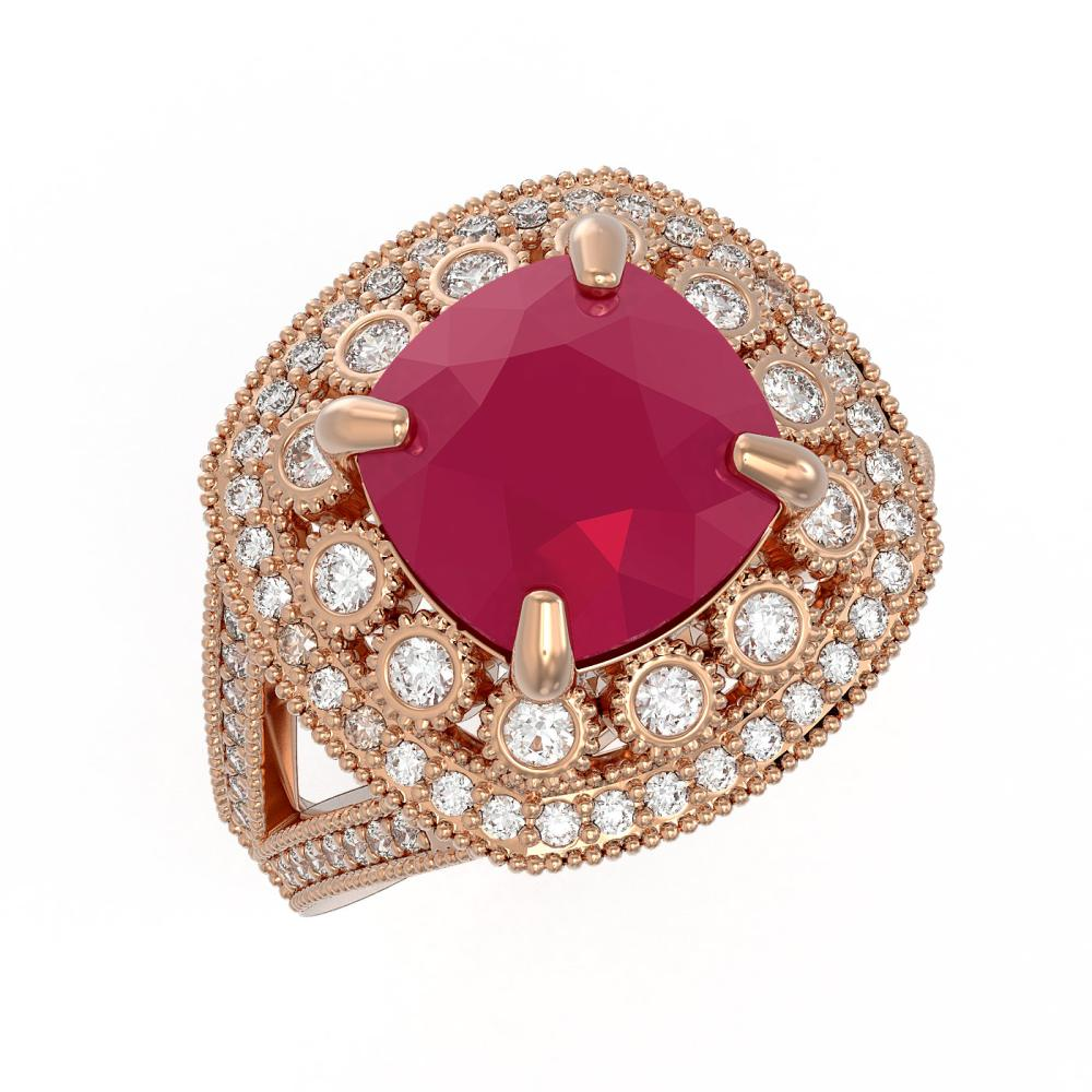 6.47 ctw Ruby & Diamond Ring 14K Rose Gold - REF-147N3A - SKU:43932