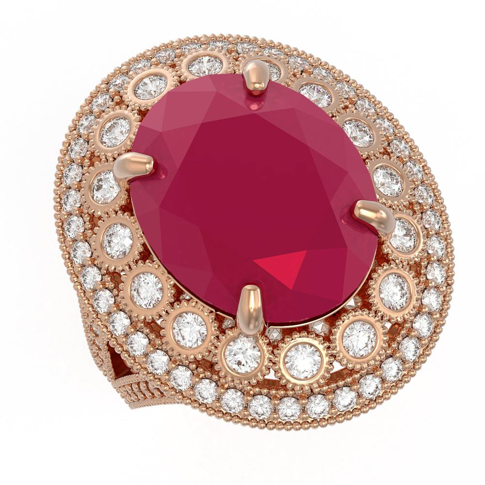 13.85 ctw Ruby & Diamond Ring 14K Rose Gold - REF-286R2K - SKU:43848
