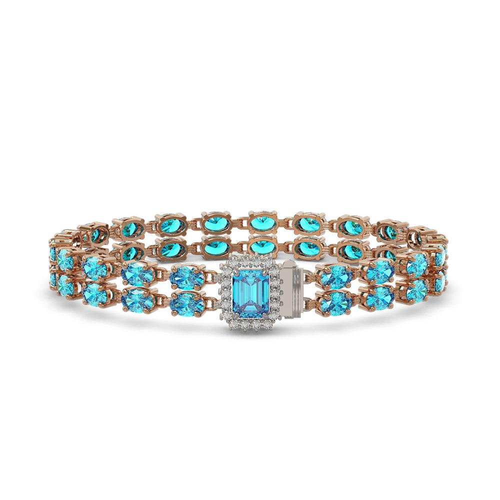 27.91 ctw Swiss Topaz & Diamond Bracelet 14K Rose Gold - REF-191H5M - SKU:45798