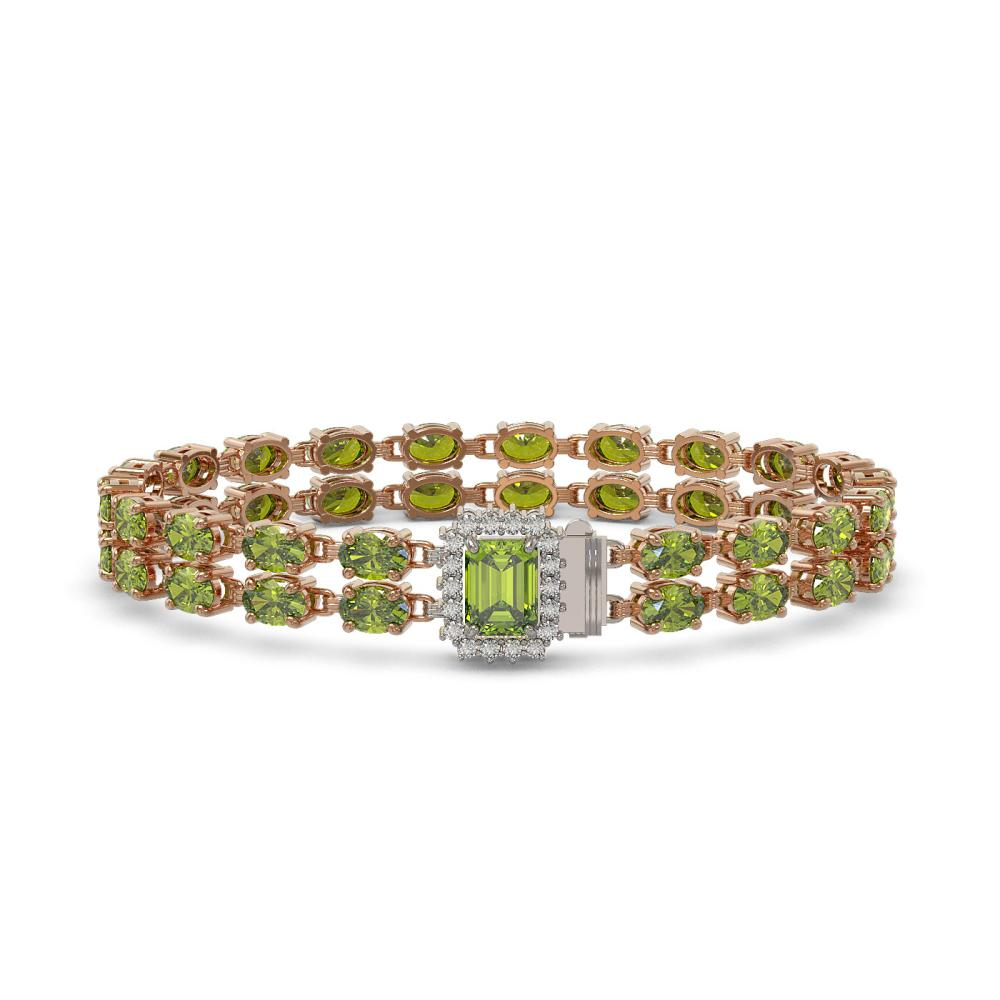 25.96 ctw Tourmaline & Diamond Bracelet 14K Rose Gold - REF-288A2V - SKU:45786