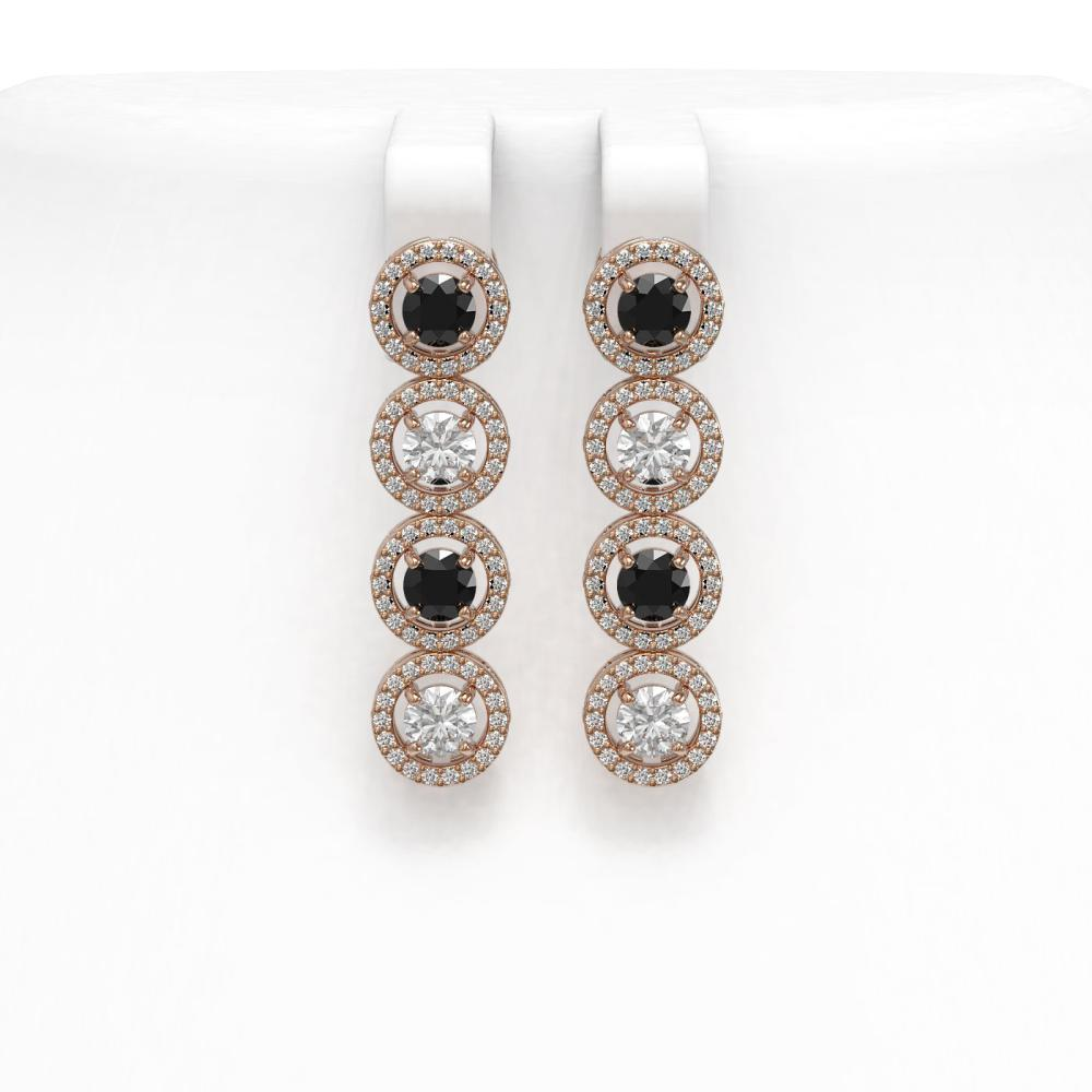 4.52 ctw Black & Diamond Earrings 18K Rose Gold - REF-289A6V - SKU:43008