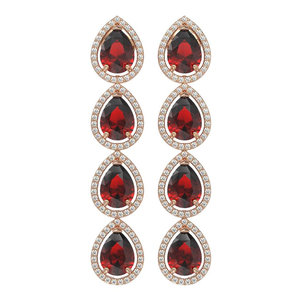 9.25 ctw Garnet & Diamond Halo Earrings Rose 10K Rose Gold - REF-172V7Y - SKU:41328