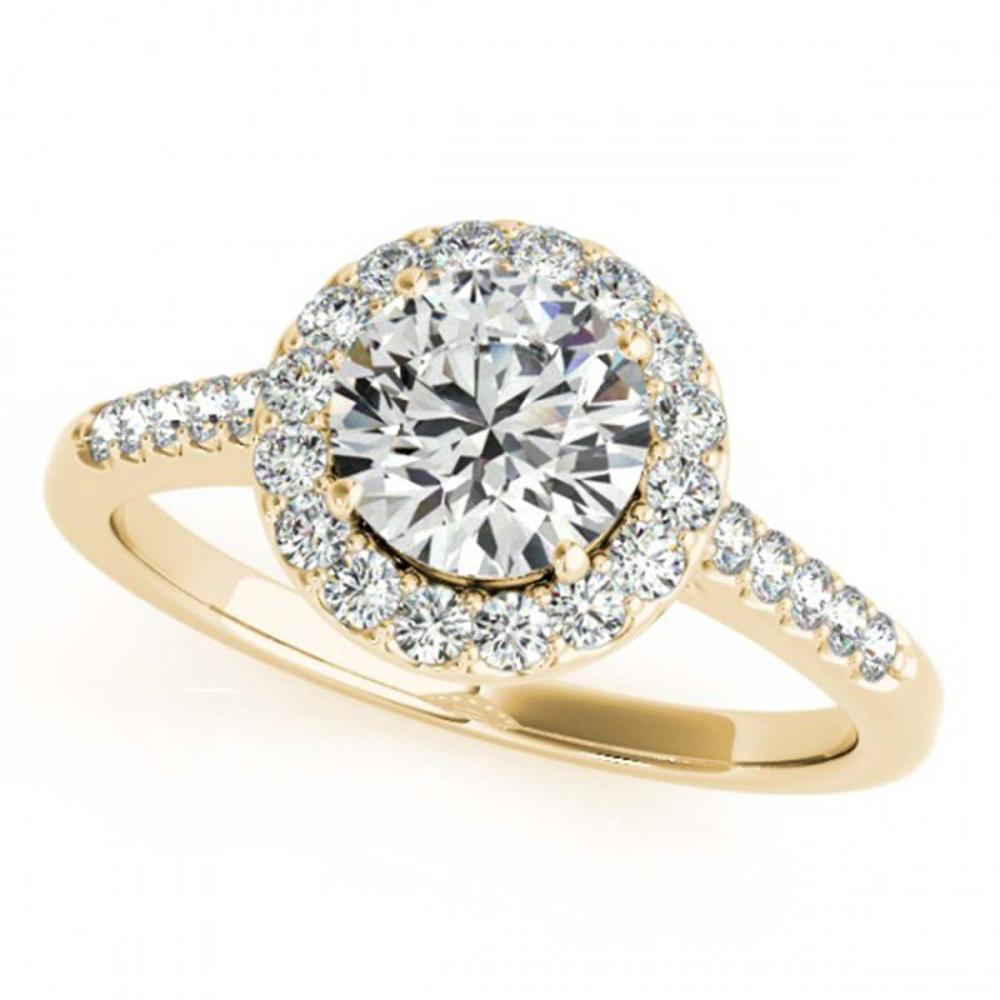 0.76 ctw VS/SI Diamond Halo Ring 18K Yellow Gold - REF-100M2F - SKU:26337