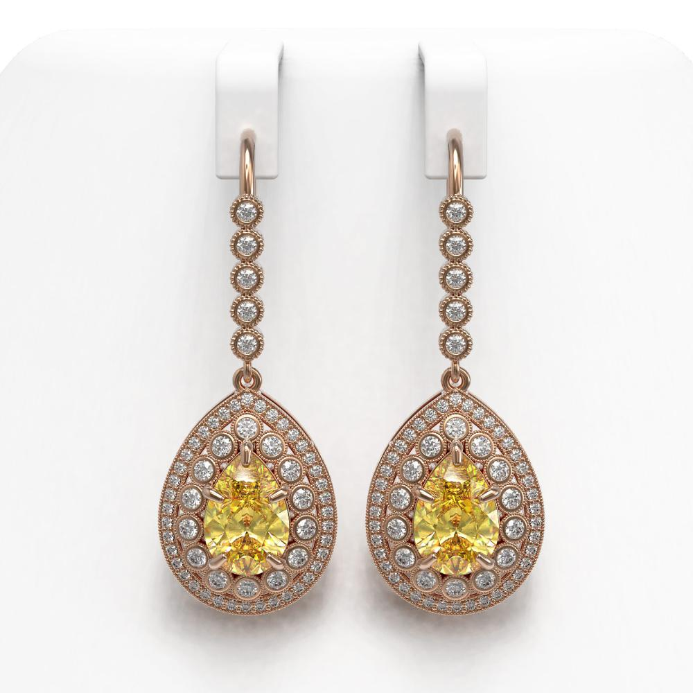 8.15 ctw Canary Citrine & Diamond Earrings 14K Rose Gold - REF-244X7R - SKU:43161