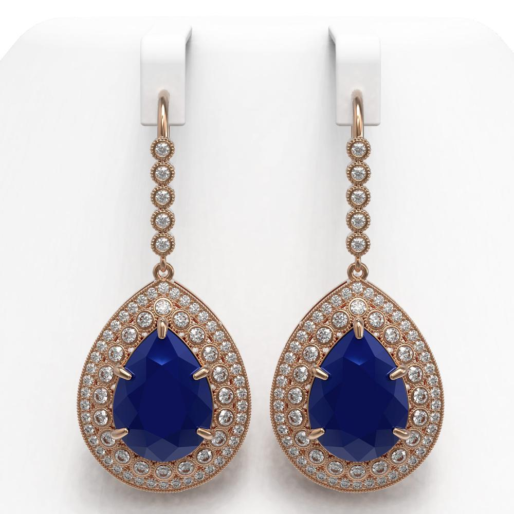 31.74 ctw Sapphire & Diamond Earrings 14K Rose Gold - REF-549X8R - SKU:43305