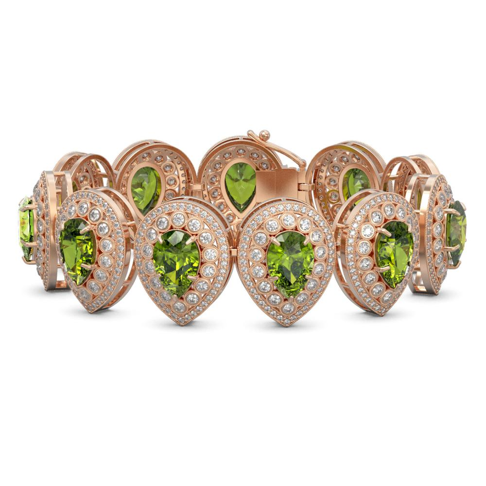 57.24 ctw Tourmaline & Diamond Bracelet 14K Rose Gold - REF-1769R5K - SKU:43275