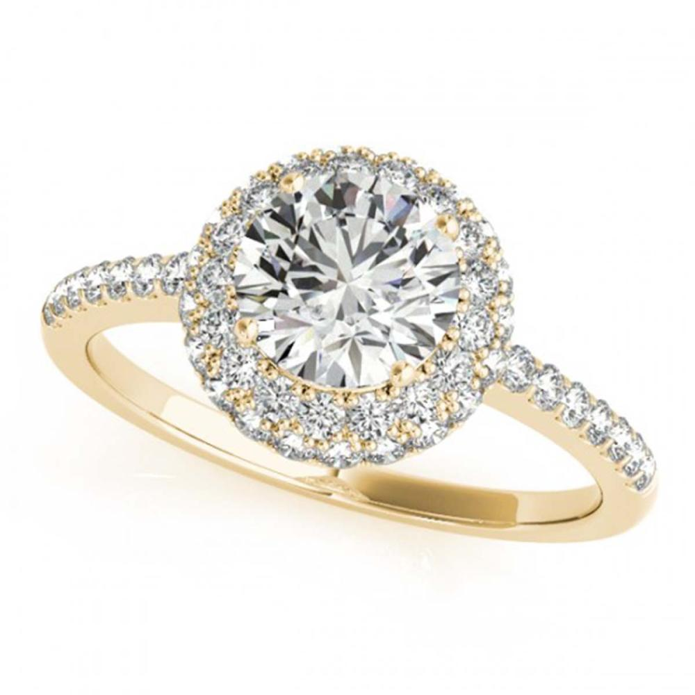 1.60 ctw VS/SI Diamond Halo Ring 18K Yellow Gold - REF-291R8K - SKU:26487