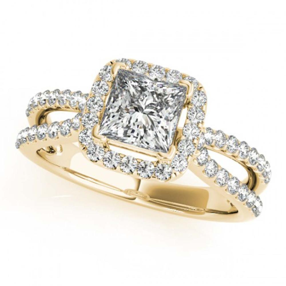 1.50 ctw VS/SI Princess Diamond Halo Ring 18K Yellow Gold - REF-300X2R - SKU:27134