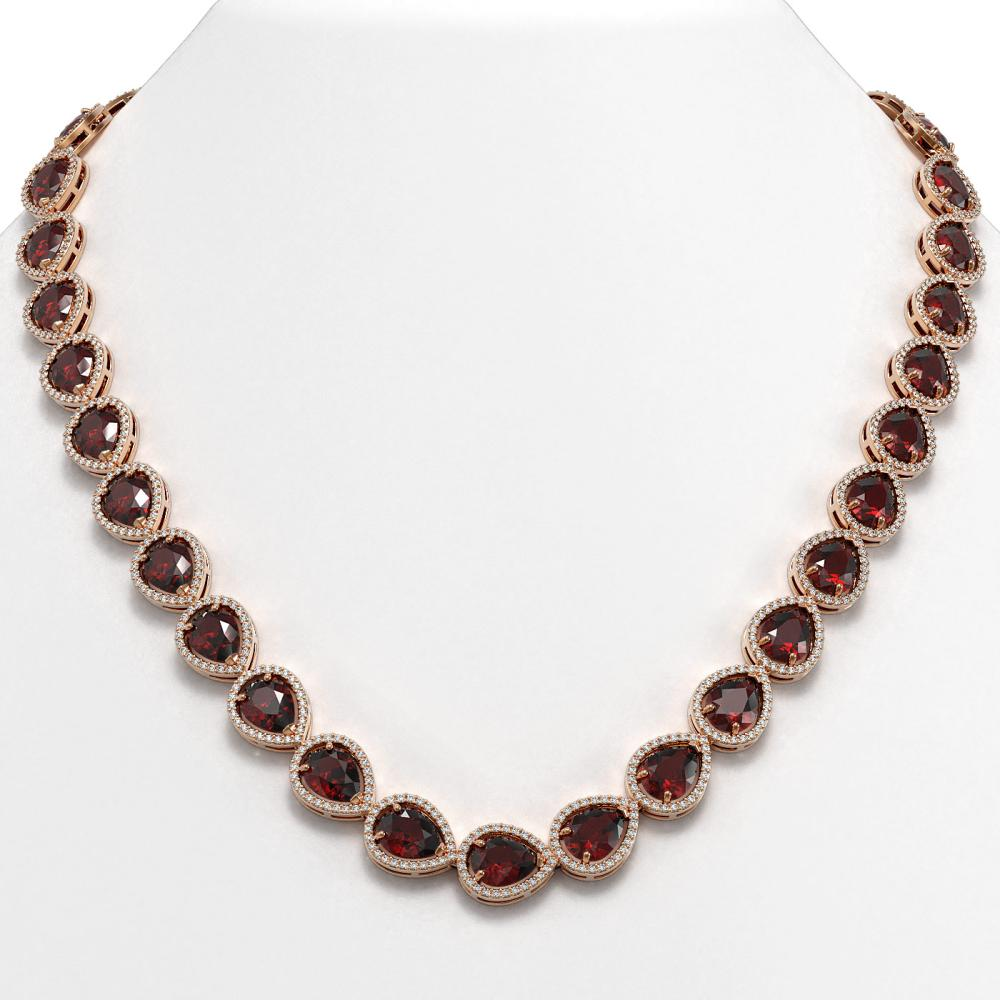 36.8 ctw Garnet & Diamond Halo Necklace 10K Rose Gold - REF-592Y9X - SKU:41232