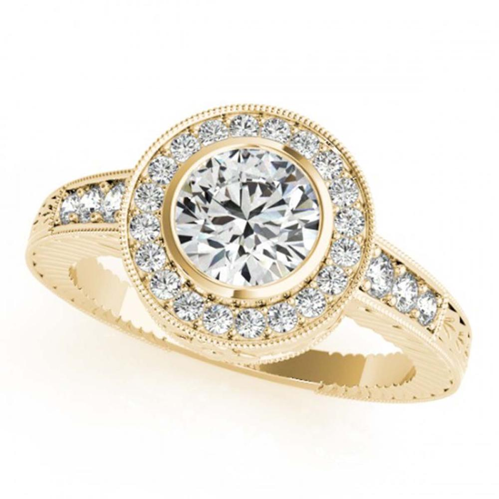 1.11 ctw VS/SI Diamond Halo Ring 18K Yellow Gold - REF-162H2M - SKU:26651