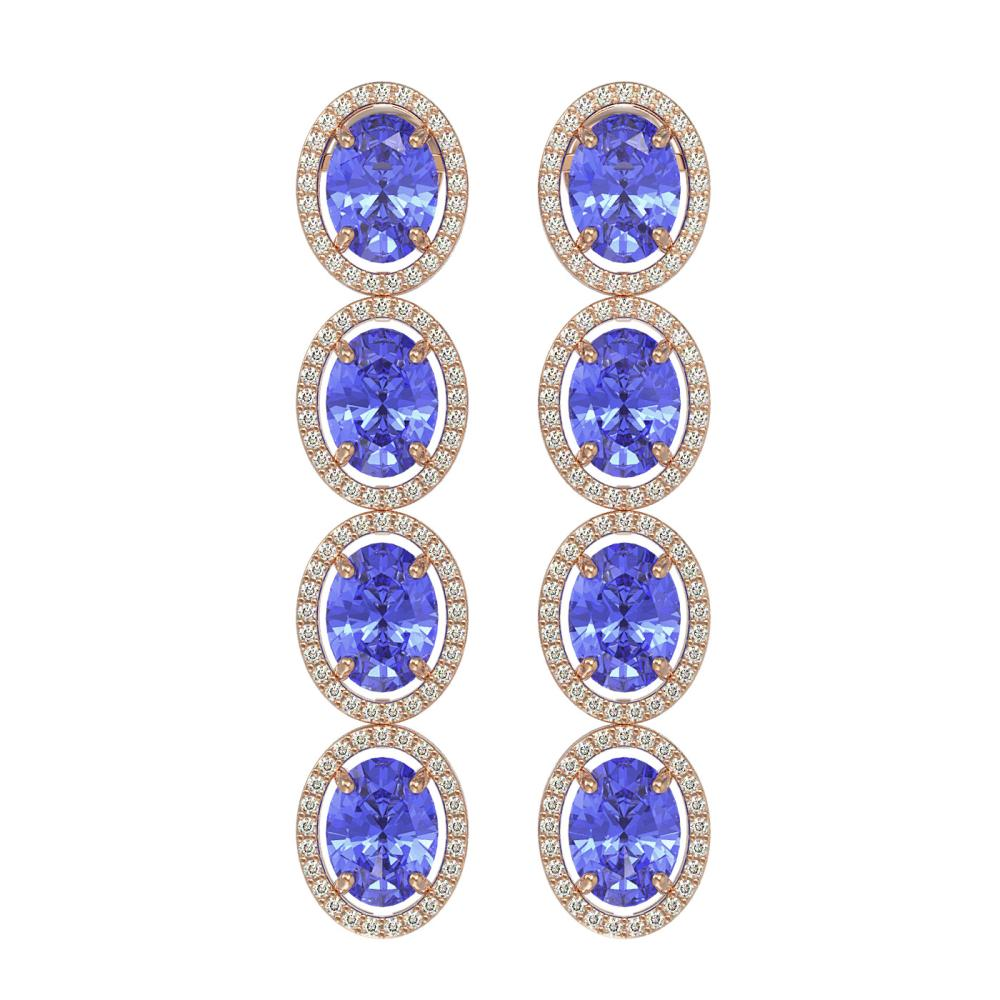 13.64 ctw Tanzanite & Diamond Halo Earrings 10K Rose Gold - REF-269M3F - SKU:40755