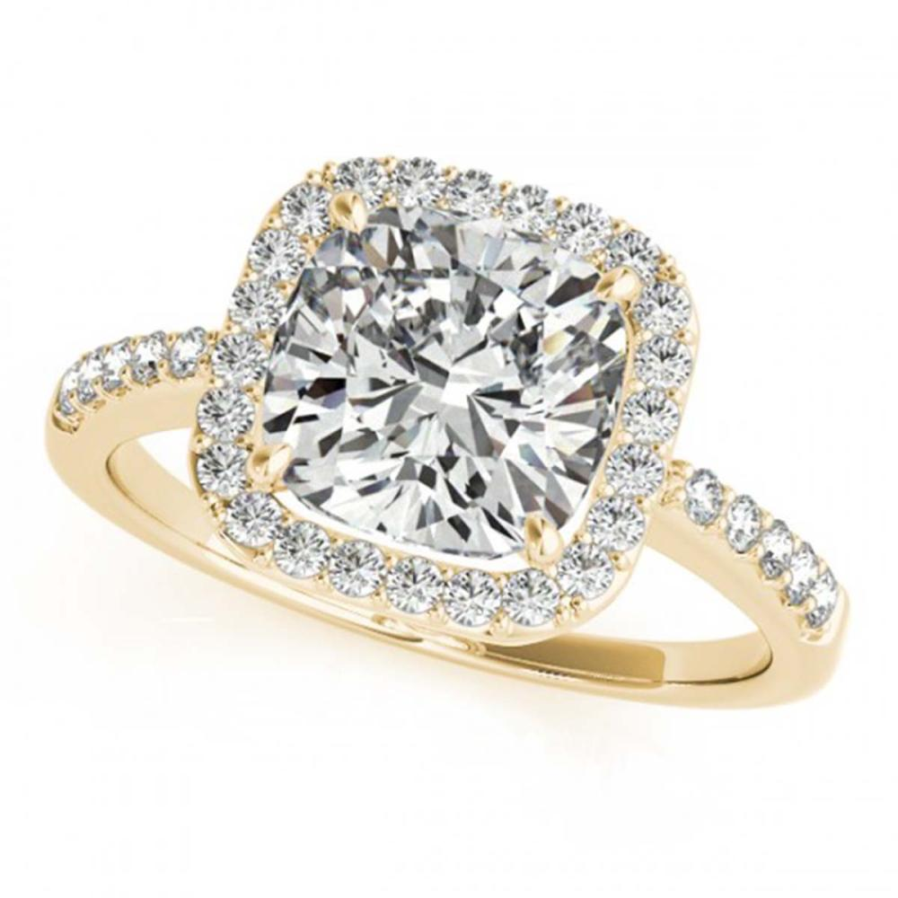 1.01 ctw VS/SI Cushion Diamond Halo Ring 18K Yellow Gold - REF-166Y5X - SKU:27116
