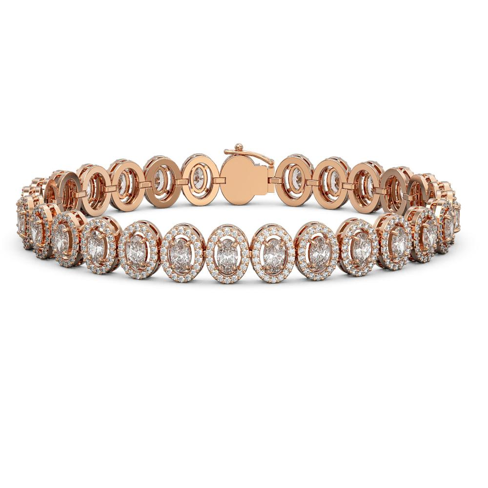 12.2 ctw Oval Diamond Bracelet 18K Rose Gold - REF-1025Y7X - SKU:43068