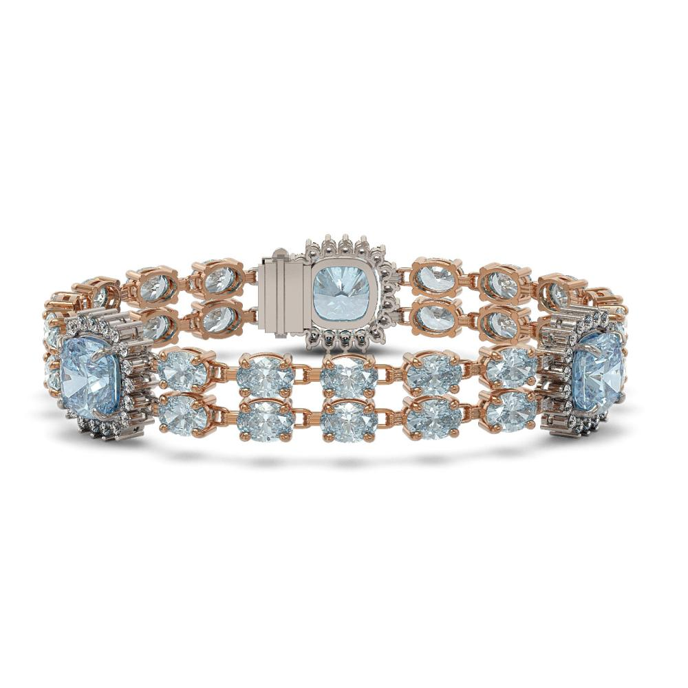 29.27 ctw Aquamarine & Diamond Bracelet 14K Rose Gold - REF-436Y2X - SKU:44877