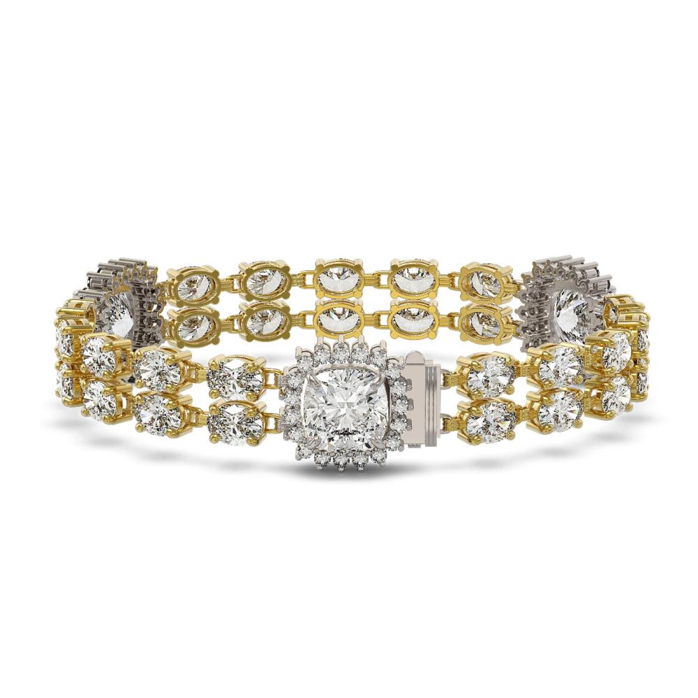 15.7 ctw Cushion & Oval Diamond Bracelet 18K Yellow Gold - REF-2522V2Y - SKU:46208