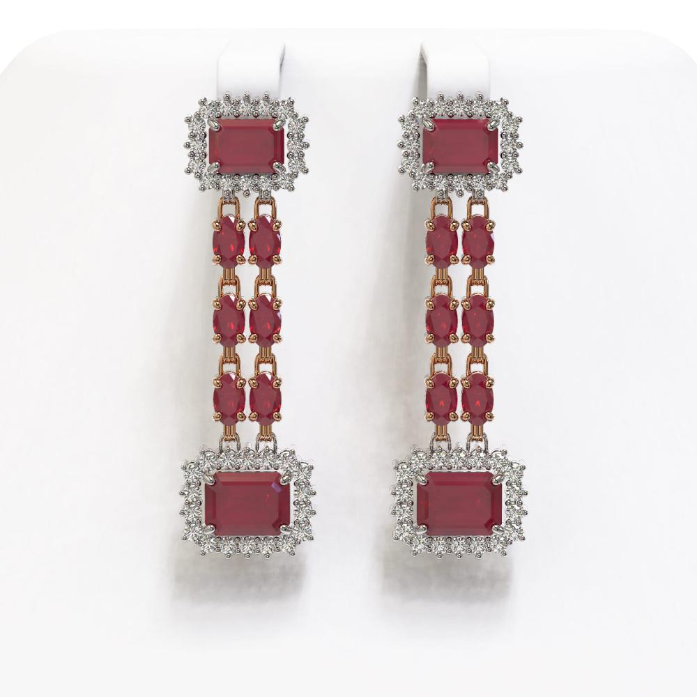 11.98 ctw Ruby & Diamond Earrings 14K Rose Gold - REF-214R7K - SKU:45198