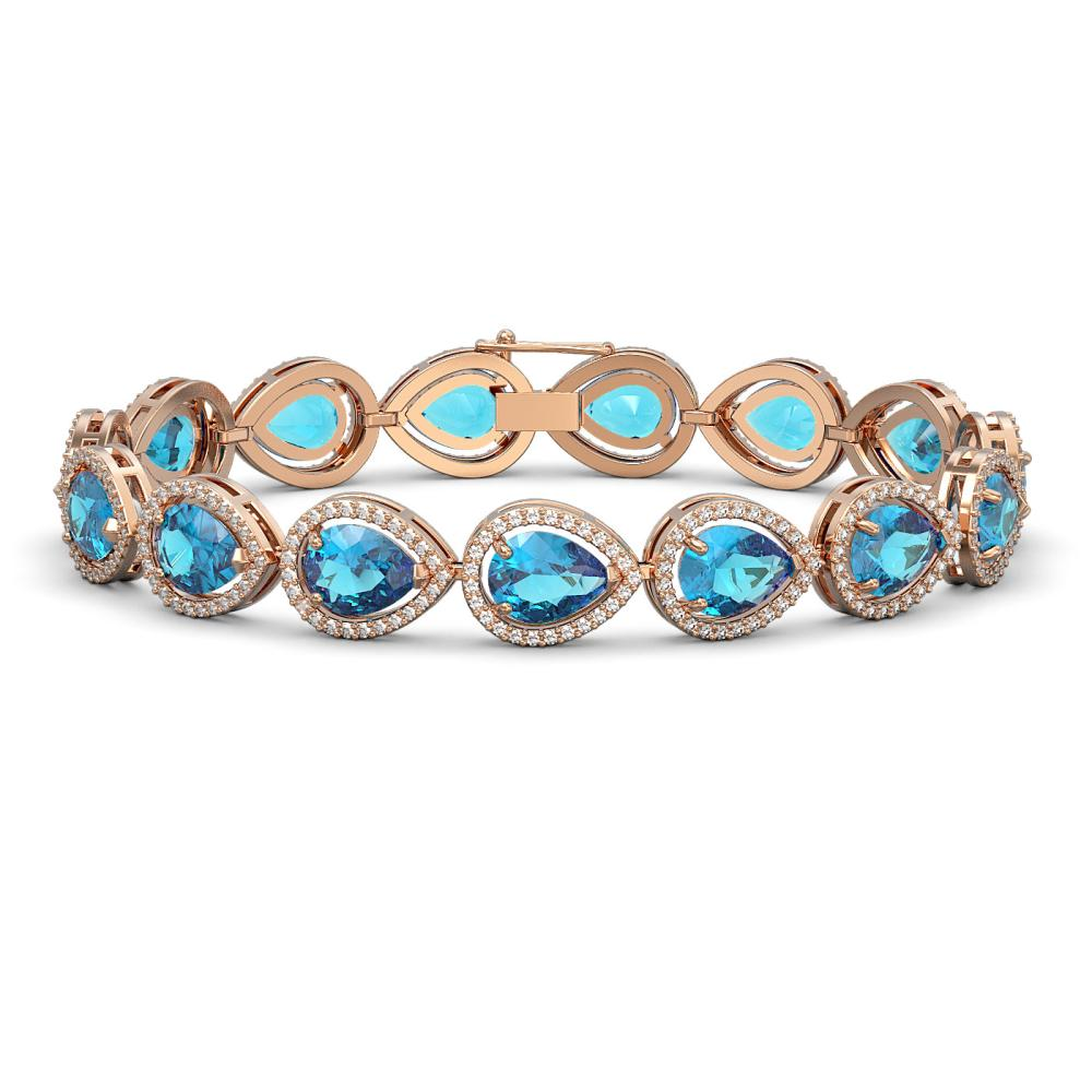 20.3 ctw Swiss Topaz & Diamond Halo Bracelet 10K Rose Gold - REF-286W2H - SKU:41268