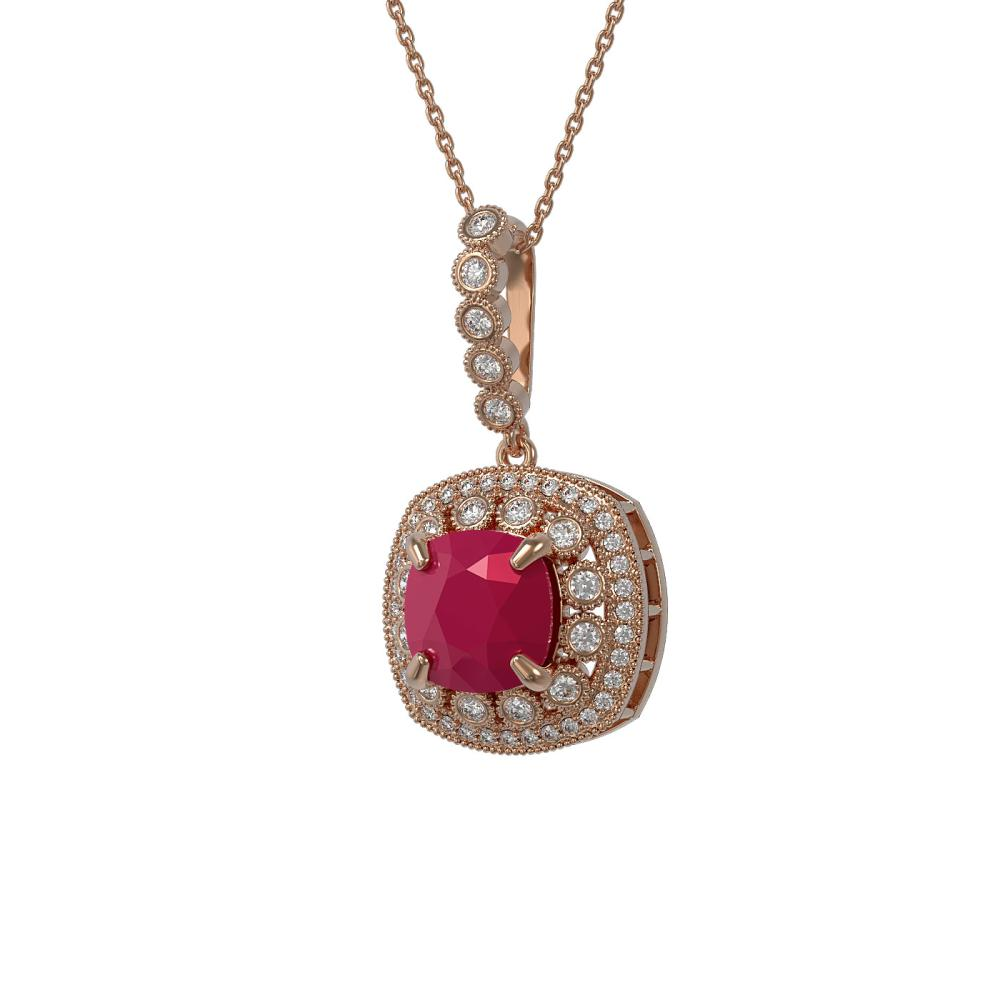 6.58 ctw Ruby & Diamond Necklace 14K Rose Gold - REF-145W3H - SKU:44004
