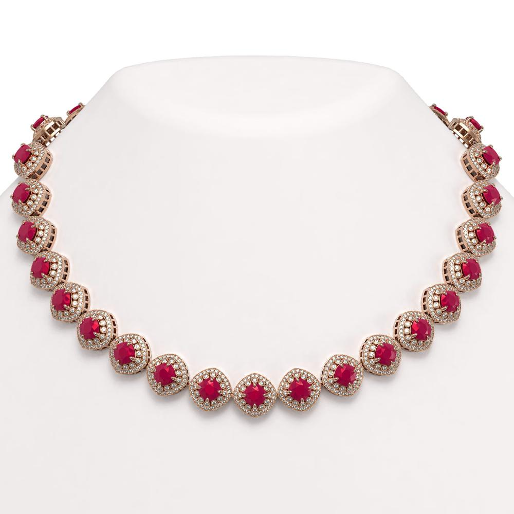 82.17 ctw Ruby & Diamond Necklace 14K Rose Gold - REF-2052H9M - SKU:44100