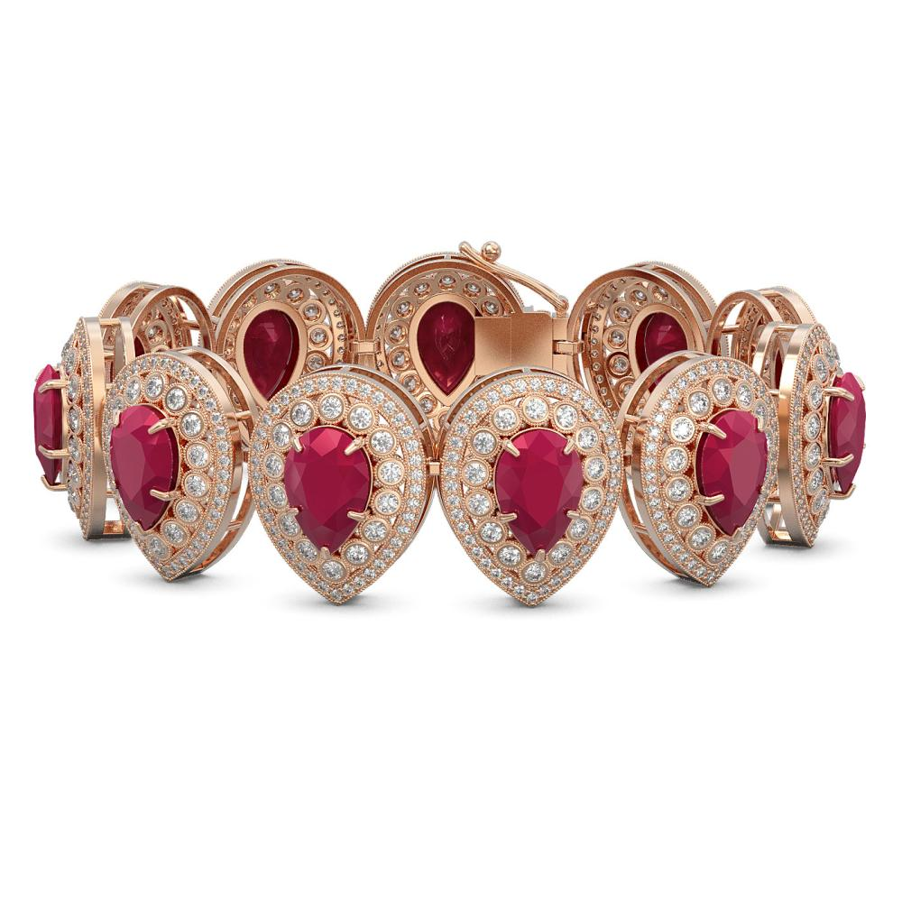 56.04 ctw Ruby & Diamond Bracelet 14K Rose Gold - REF-1520W7H - SKU:43257
