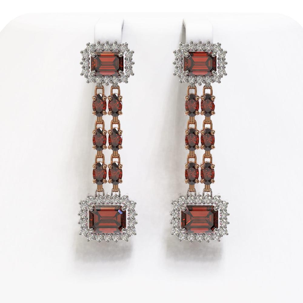 10.62 ctw Garnet & Diamond Earrings 14K Rose Gold - REF-190F2N - SKU:45240