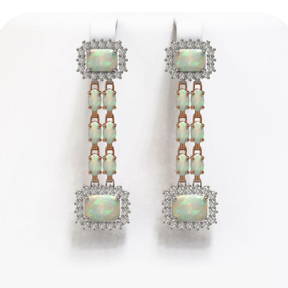 8.26 ctw Opal & Diamond Earrings 14K Rose Gold - REF-204N4A - SKU:45210