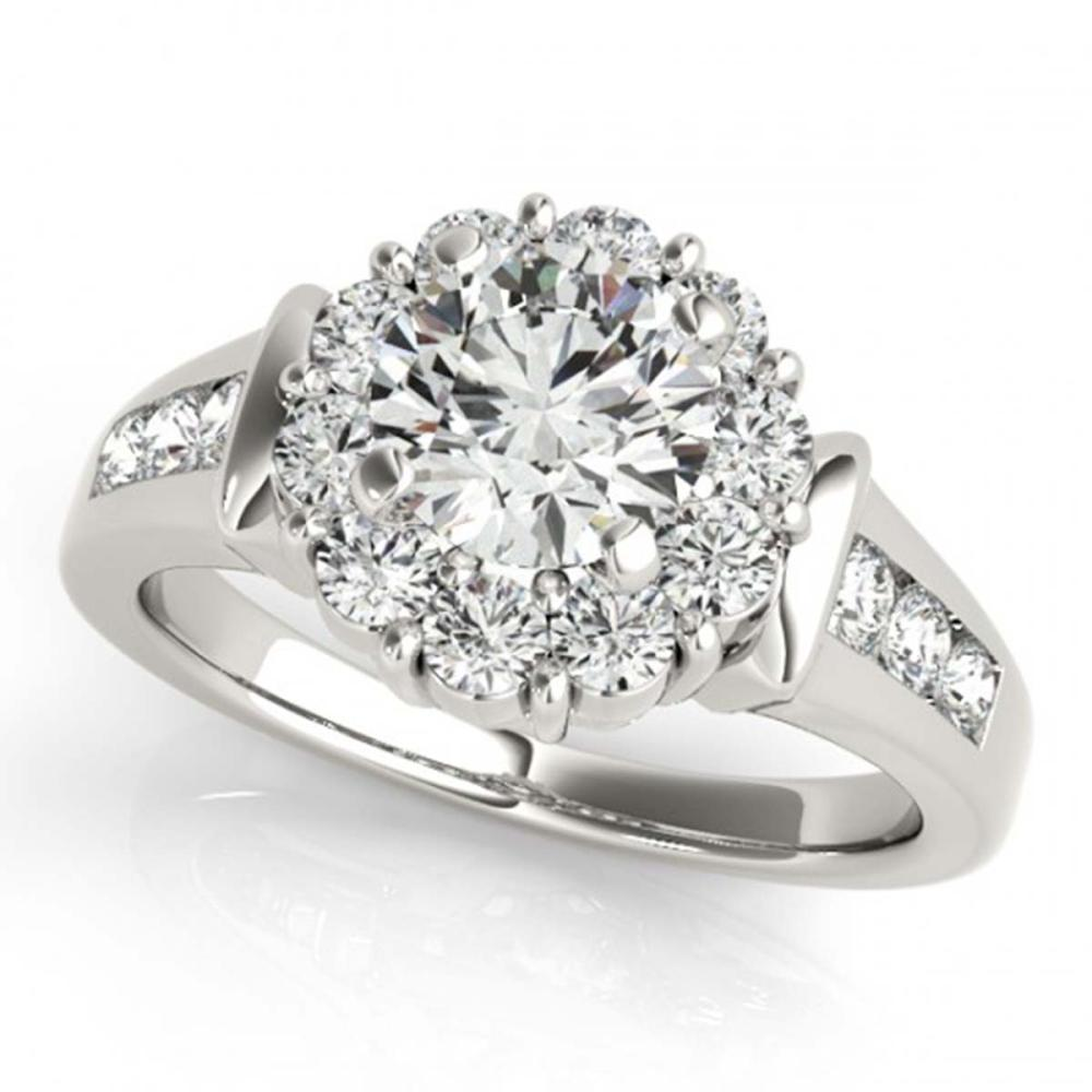 1.35 ctw VS/SI Diamond Halo Ring 18K White Gold - REF-130M4F - SKU:26928