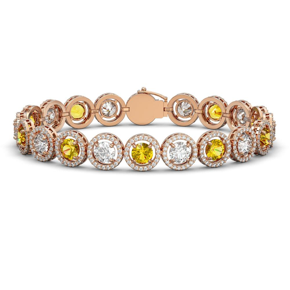15.47 ctw Canary & Diamond Bracelet 18K Rose Gold - REF-1646V3Y - SKU:42690