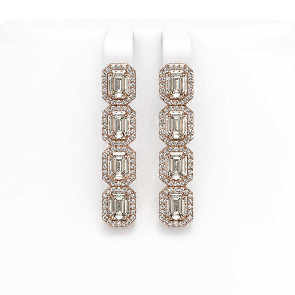 6.08 ctw Emerald Diamond Earrings 18K Rose Gold - REF-977Y2X - SKU:42756