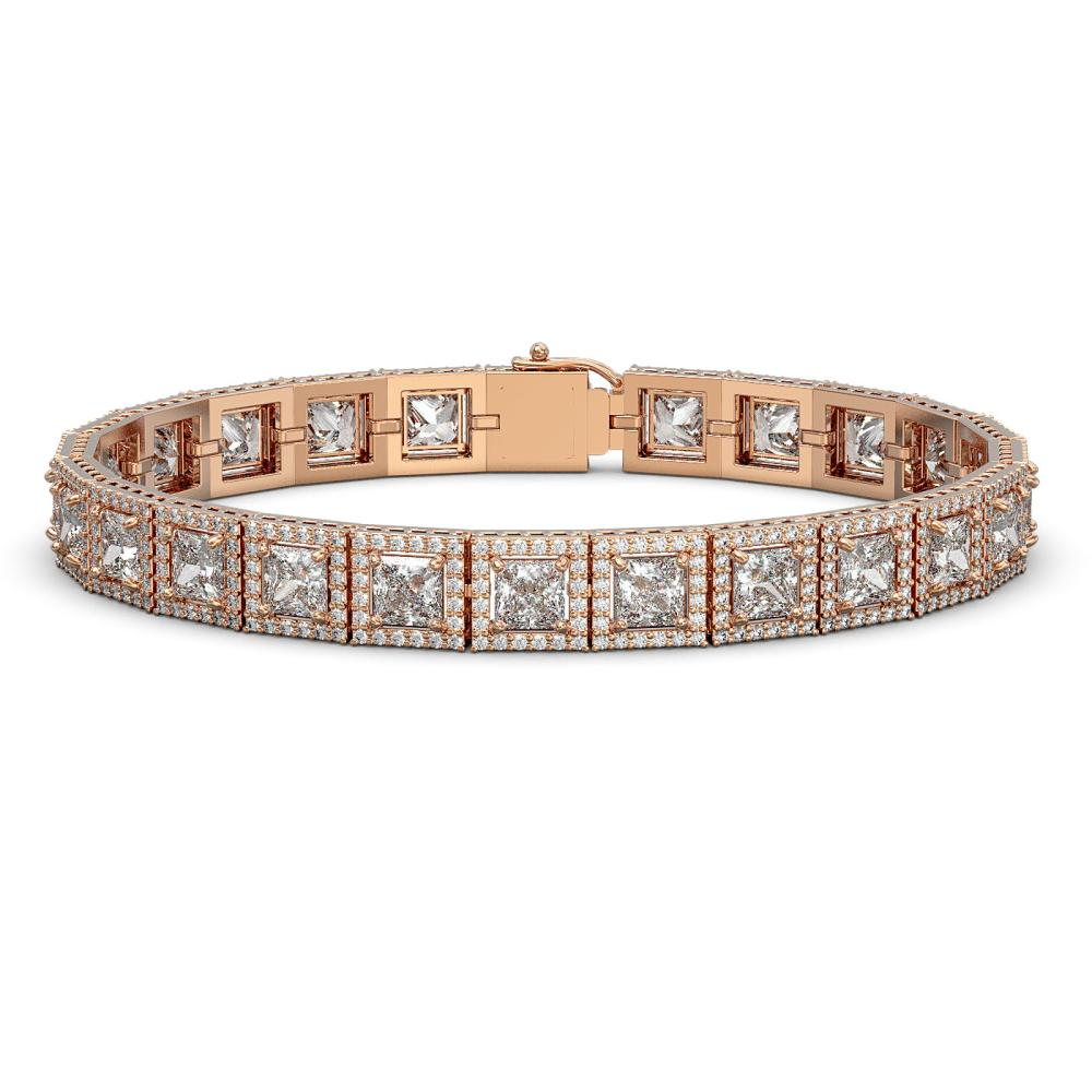 18.24 ctw Princess Diamond Bracelet 18K Rose Gold - REF-2522W7H - SKU:42726