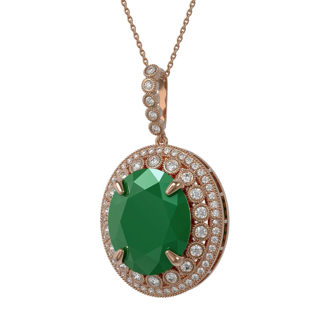 28.98 ctw Emerald & Diamond Necklace 14K Rose Gold - REF-479H3M - SKU:43920