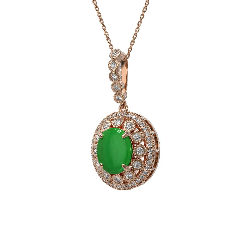 5.51 ctw Jade & Diamond Necklace 14K Rose Gold - REF-156F7N - SKU:46114