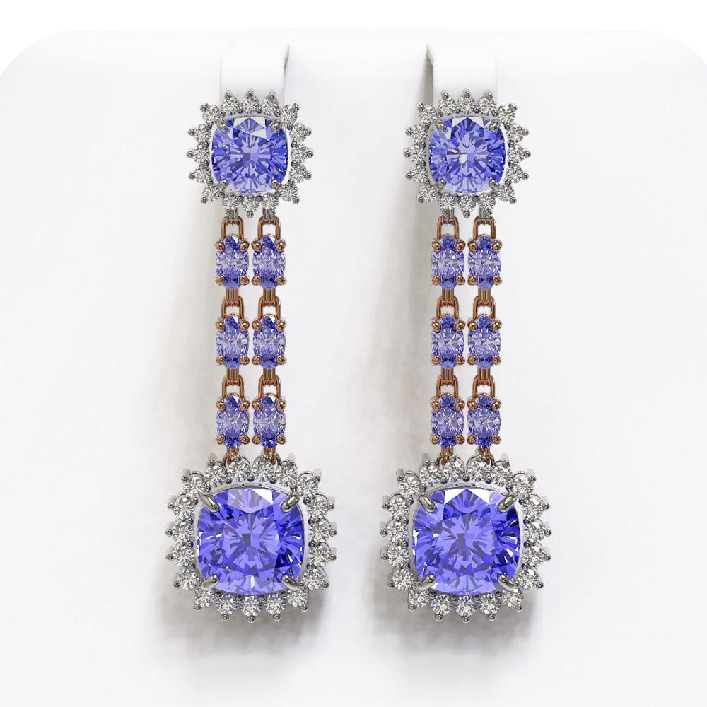 20.06 ctw Tanzanite & Diamond Earrings 14K Rose Gold - REF-469Y6X - SKU:44919