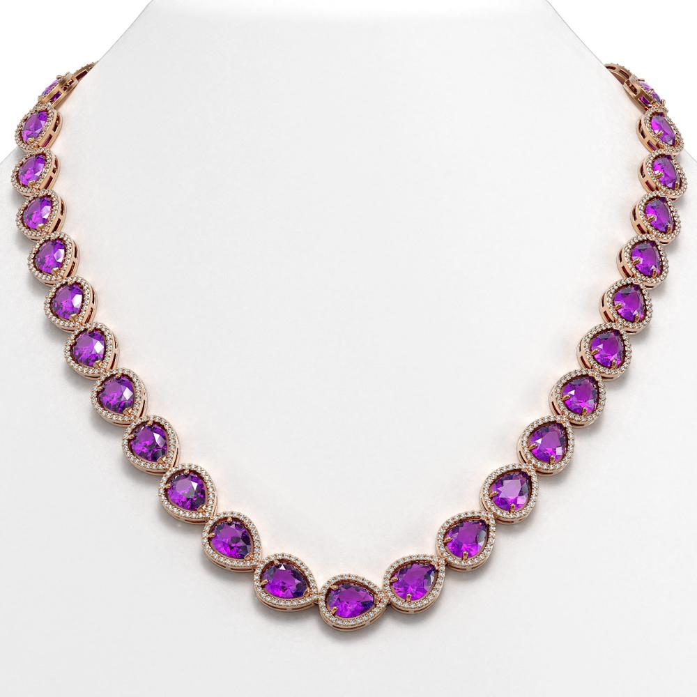 43.2 ctw Amethyst & Diamond Halo Necklace 10K Rose Gold - REF-603V3Y - SKU:41226