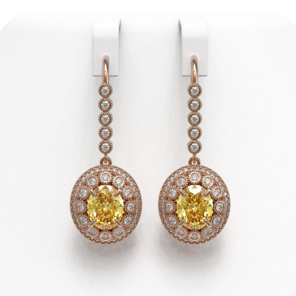 7.65 ctw Canary Citrine & Diamond Earrings 14K Rose Gold - REF-216Y9X - SKU:43617