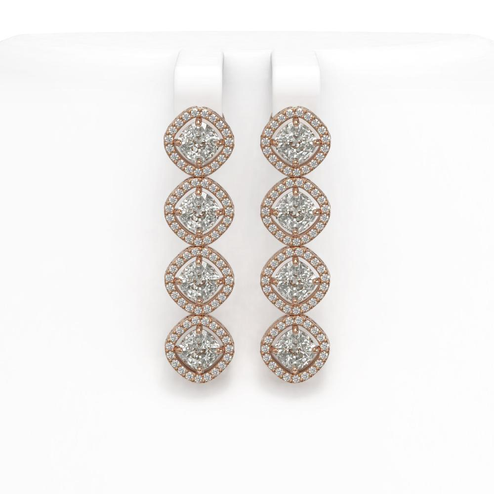 5.85 ctw Cushion Diamond Earrings 18K Rose Gold - REF-817X6R - SKU:42864
