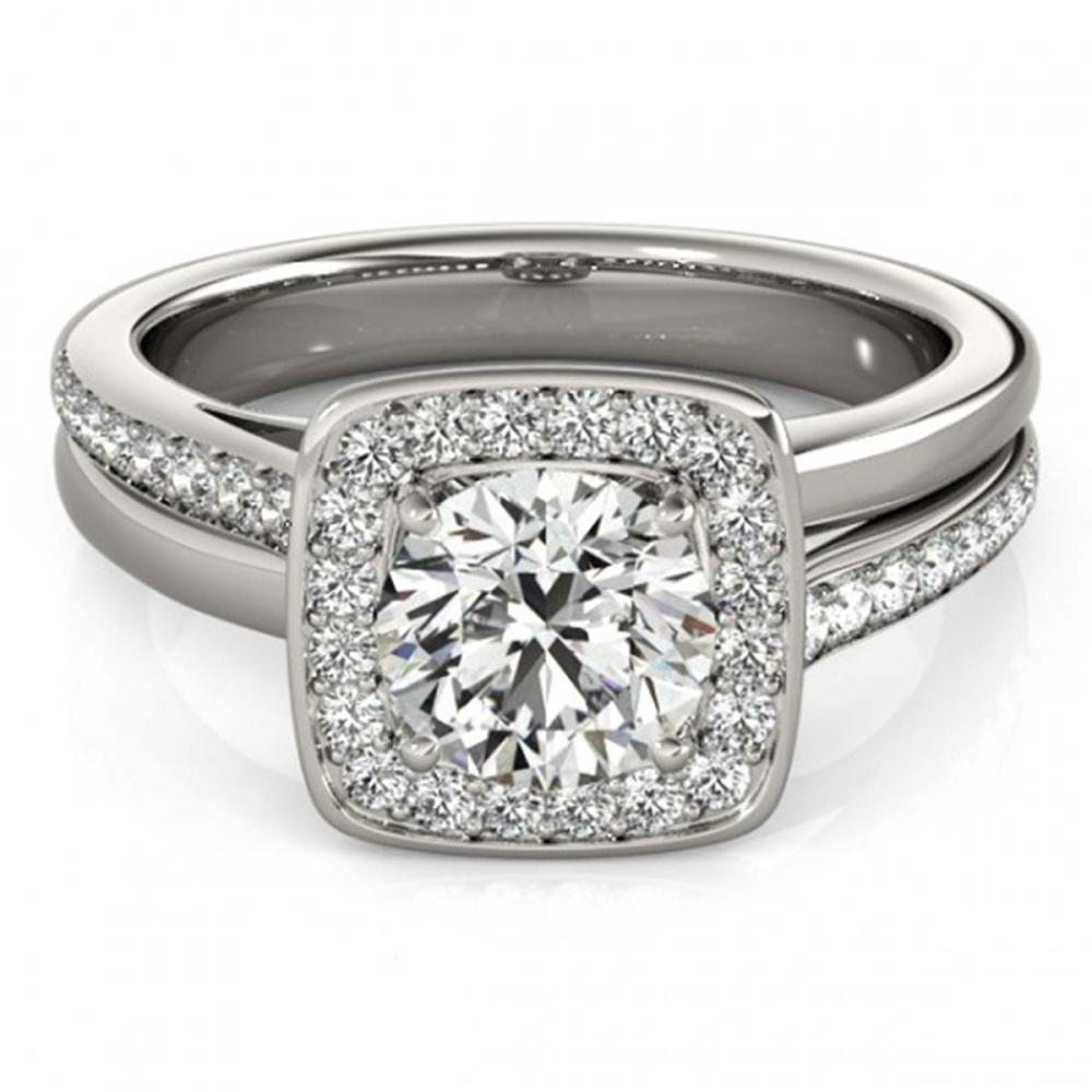 0.85 ctw VS/SI Diamond Halo Ring 18K White Gold - REF-118H6M - SKU:26838