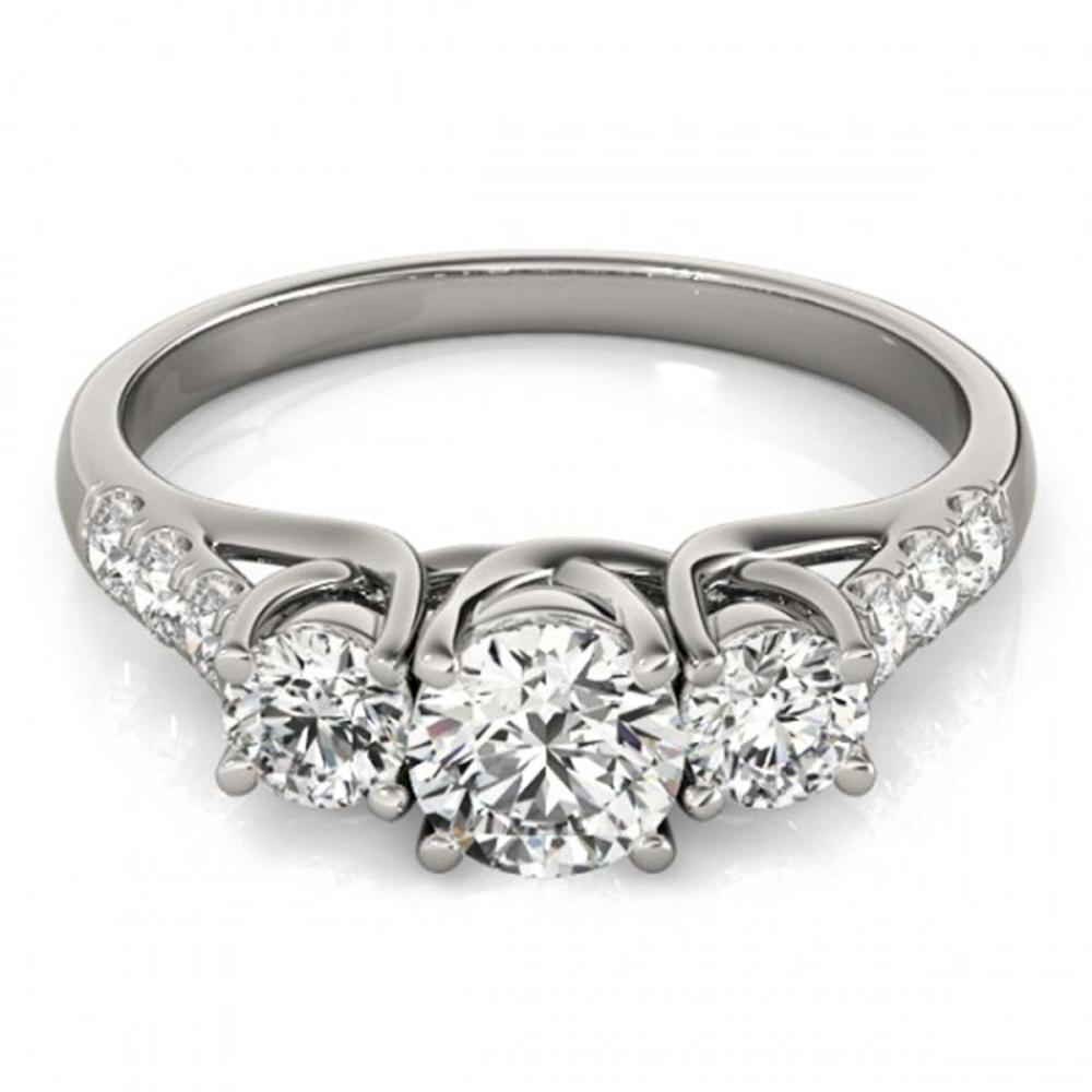 3.25 ctw VS/SI Diamond 3 Stone Bridal Ring 14K White Gold - REF-821N9A - SKU:25937