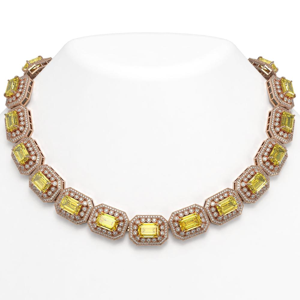 110.45 ctw Canary Citrine & Diamond Necklace 14K Rose Gold - REF-2357X6R - SKU:43476