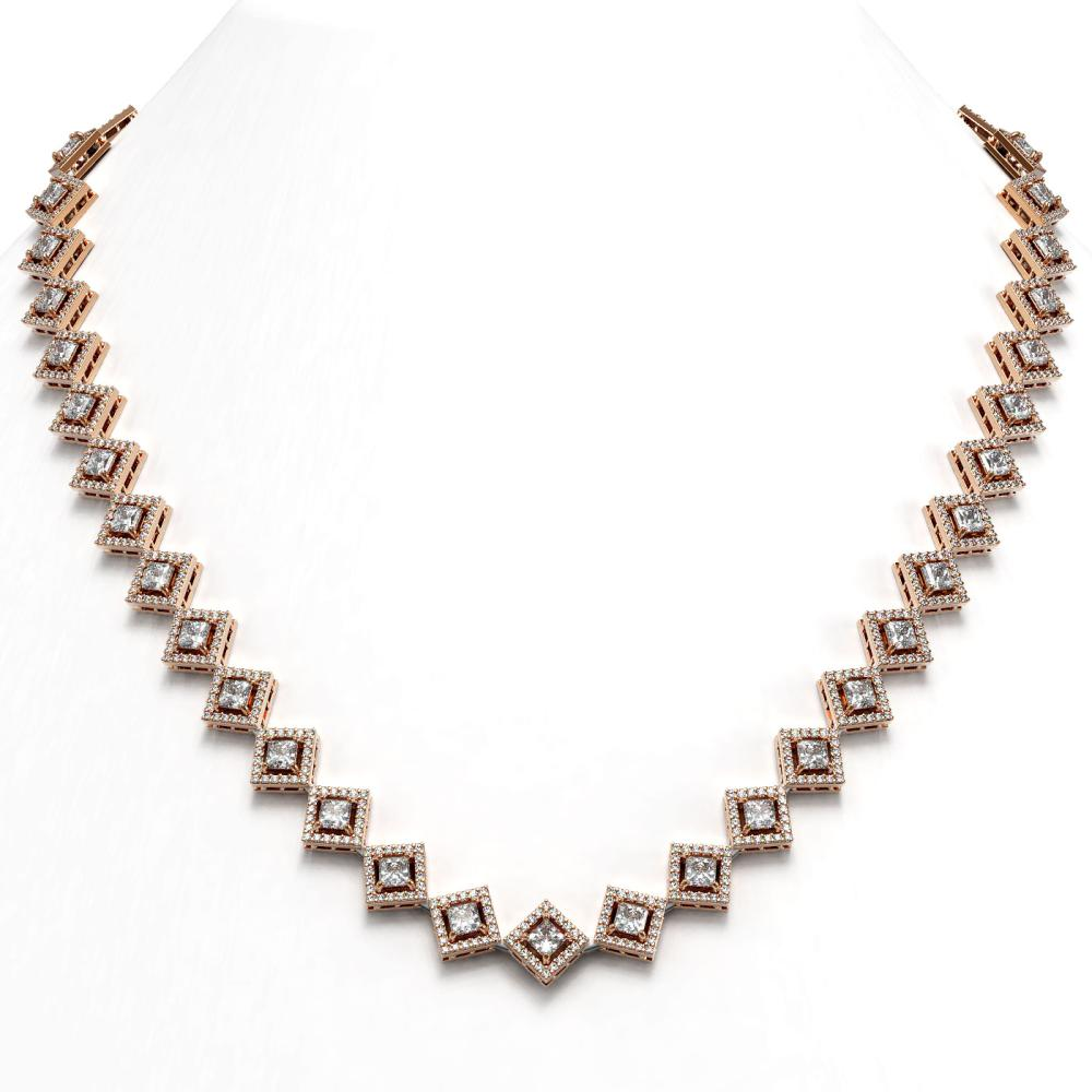 19.27 ctw Princess Diamond Necklace 18K Rose Gold - REF-1598K3W - SKU:43092