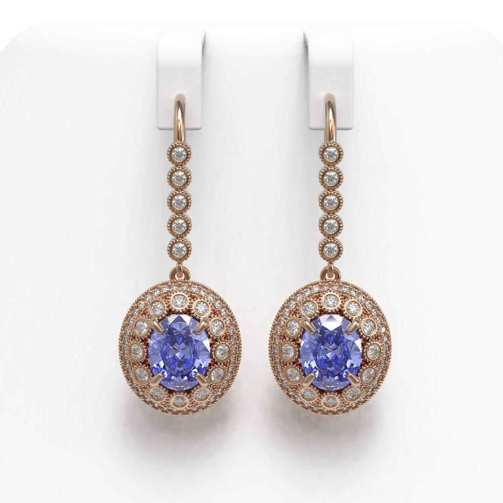 9.47 ctw Tanzanite & Diamond Earrings 14K Rose Gold - REF-315F6N - SKU:43611
