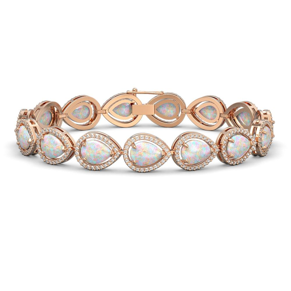 17.15 ctw Opal & Diamond Halo Bracelet Rose 10K Rose Gold - REF-321X6R - SKU:41250