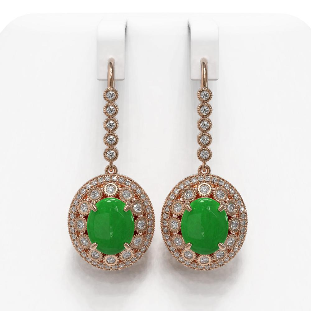 11.02 ctw Jade & Diamond Earrings 14K Rose Gold - REF-296Y2X - SKU:46102