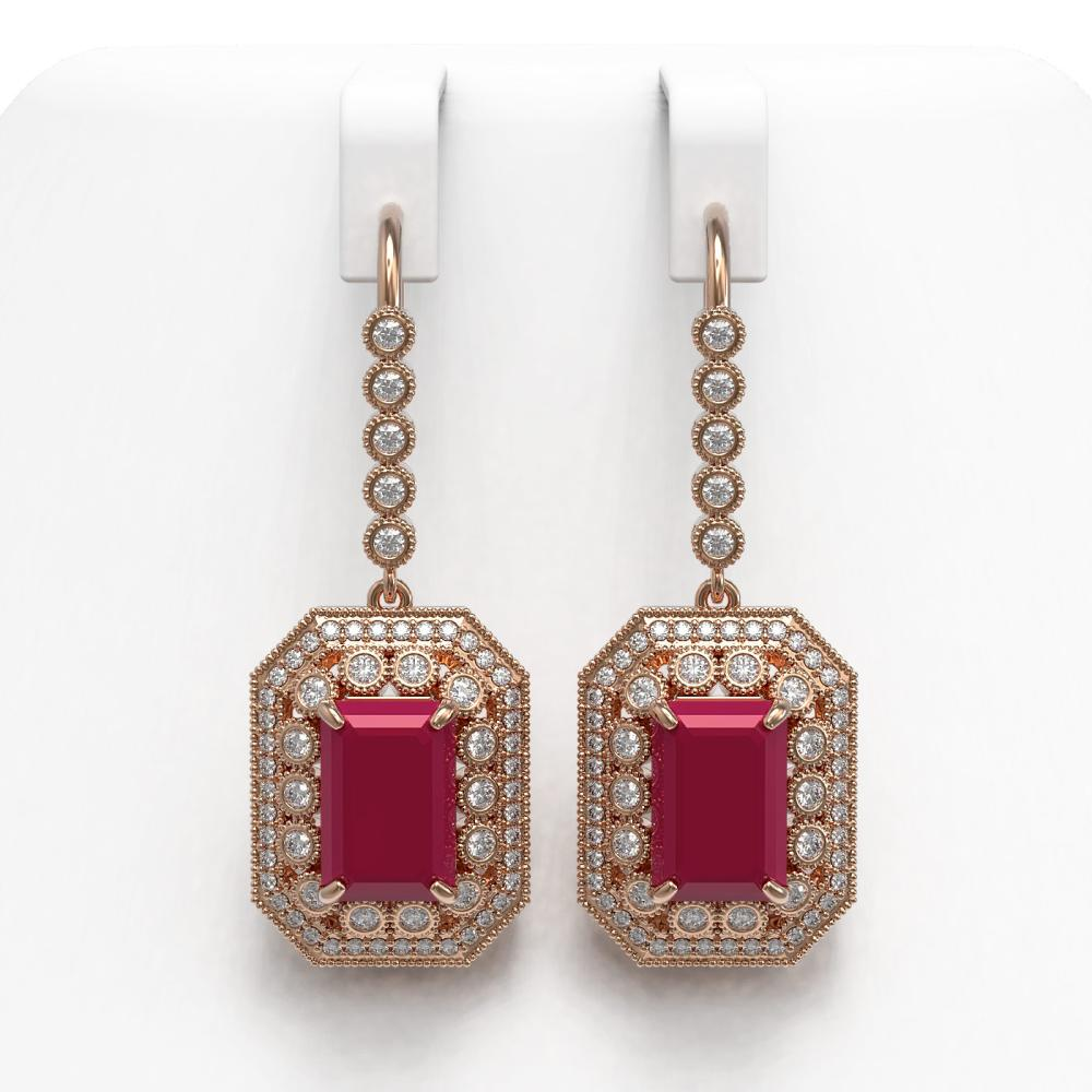 14.16 ctw Ruby & Diamond Earrings 14K Rose Gold - REF-295V3Y - SKU:43392