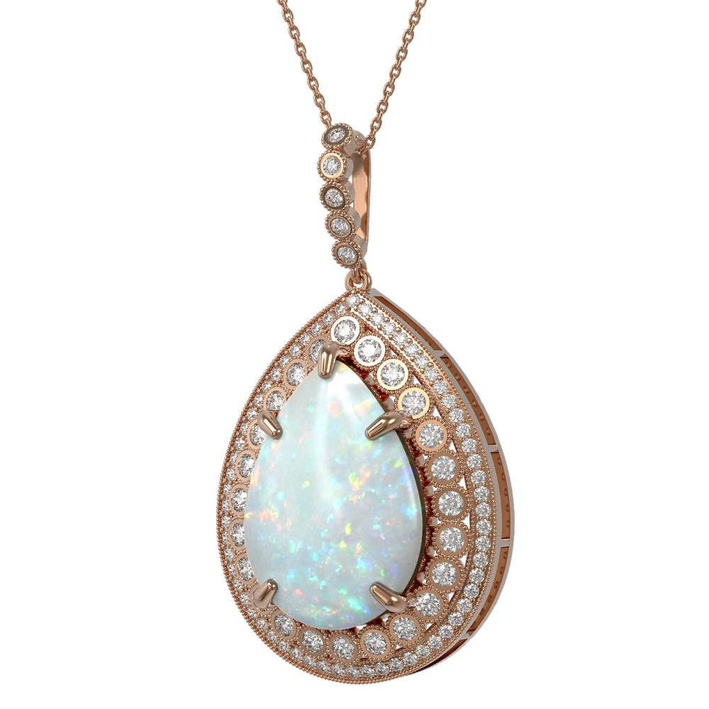 31.84 ctw Opal & Diamond Necklace 14K Rose Gold - REF-843F6N - SKU:43362
